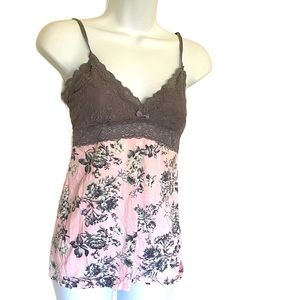 Pj Salvage Lace and Rose Print Cami Tank